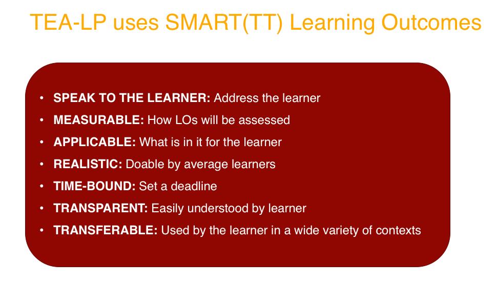 TEA-LP Curriculum Smartt Learning Outcomes